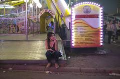 . (Le Cercle Rouge) Tags: paris france night streets darkness light pelousedereuilly boisdevincennes foiredutrône woman loneliness solitude luna lunapark