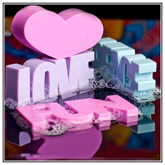 Fun - Love - Peace (EddieAC) Tags: macromondays erasers macro bubbles water reflection