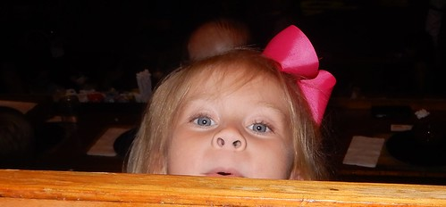 Great-niece looking over a railing