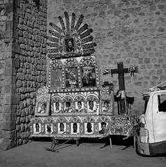 Peruvian Soccer Team, Cusco, Peru (austin granger) Tags: soccer fútbol team sports shrine religion peru cusco peruvian worldcup cross catholicism street coach square film float parade gf670