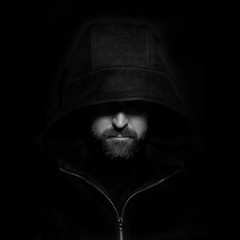 Week 16: Technical: Portrait Lighting (Hooded) (Ben Aerssen) Tags: portrait monochrome bw zipper hoodie hooded lighting shadow face man bears white grey gray black nose mouth cheeks constantlight dogwood2018 dogwood2018week16 dogwood52