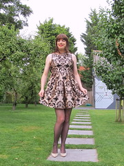 Legs (Paula Satijn) Tags: girl skirt chic elegant classy happy fun joy outside garden orchard smile lady sweet legs sexy hot heels pumps stockings dress cocktaildress partydress tgirl tranny transvestite trees