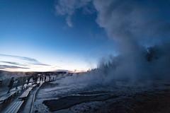 Grand Geyser eruption during the blue hour (YellowstoneNPS) Tags: grandgeyser uppergeyserbasin ynp yellowstone yellowstonenationalpark geyser people