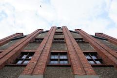 Up and up (gooey_lewy) Tags: poland szcenin szczecin city europe church llokki looking up decor fascia building bricks sky blue bird flight cross