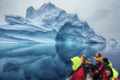 at the iceberg city - East Greenland (yan08865) Tags: ice iceberg mountain sky greenland arctic blue ocean travel zodiac snow pavlis scoresby sound fjord landscape sea water seascapes sailing north global