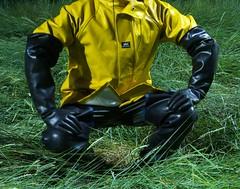 The pose (essex_mud_explorer) Tags: waders cuissardes watstiefel thigh rubber boots uniroyal century marigoldemperor gauntlets gloves me107 hellyhansen nusfjord raincoat raingear rainwear