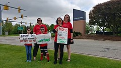Clean Air Moms and Kids at Chrysler dropping off petitions urging automakers to protect the Clean Car Standards