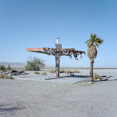 the shoe tree. mojave desert, ca. 2018. (eyetwist) Tags: eyetwistkevinballuff eyetwist shoetree tree shoes boots hanging abandoned mojavedesert california mamiya 6mf 50mm kodak portra 160 ishootfilm analog analogue mamiya6mf mamiya50mmf4l kodakportra160 ishootkodak mojave desert clouds film emulsion mamiya6 square 6x6 mediumformat 120 filmexif iconla epsonv750pro lenstagger highdesert landscape roadsideamerica barren desolate dirt bleak ca62 highway 62 rice service gas gasoline station gasstation ruins decay slab canopy frame bent graffiti shoe american west newtopographics palmtree flat horizon