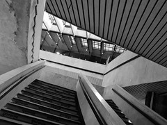Gulp! (Máté Pósán) Tags: angles stripes stairs way light hole station railway modernism 70s budapest underground