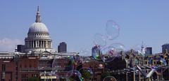 Bubbles in London (little_frank) Tags: london england uk unitedkingdom skyline stpaul milleniumbridge cityoflondon waterfront sunny summer july dome bubble performance life