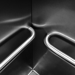 (The Man-Machine) Tags: reflections reflection brushedmetal metal lift elevator bw snapseed edited cropped