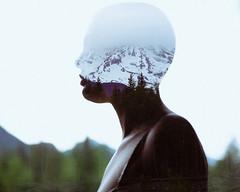 Alia (Mike Monaghan) Tags: doubleexposure model woman bald mikemonaghan shavedhead baldwoman silhouette mountain mountrainier portrait girl pretty gorgeous travel landscape