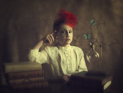 The Entomologist (Maren Klemp) Tags: fineartphotography fineartphotographer darkart color vintage conceptual butterflies girl child kit books surreal ethereal dreamy painterly portrait