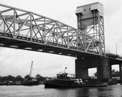 20180419MemorrialBr4 (Alan Cradick) Tags: alancradick bw bridge capefearriver film tugboat river outboard marinepatrol