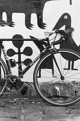 000135860002 (Harry Toumbos Photo) Tags: 35mm film ilford hp5 canon f1 50mmf12l melbourne laneway street art cycling bike road classic retro vintage steel columbus tsx campagnolo shimano dura ace ultegra