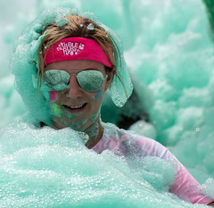 Its all about the Bubbles! (Andy J Newman) Tags: tyhafan cardiff fun bubblerush run bubble woman foam lady rush charity wales unitedkingdom gb