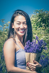 Lavender Girl (dusk_rider) Tags: beautiful pretty gorgeous asian girl lavender bag sky field hitchin ickleford nikon d7200 60mm f28d