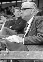 A day at Edgbaston Cricket Ground, 1969. B5 7QU (Matt Chambers) Tags: zenit3m industar kodak trix sandwich cricket edgbaston crowd warwickshire countycricketclub wccc tweed watch spectate spectator wicket square pitch supporter stump willow mcc