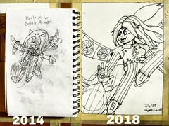 """""""Battle Armored Emily"""" Finished with another redraw, placed my old drawing for comparison. (antwon369) Tags: draw drawing art artwork artist graphite graphiteart cartoon cartoonist illustrator illustration"""
