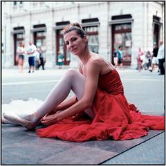 City dancer_Rolleiflex 3.5B (ksadjina) Tags: 6x6 ballerina c41 carlzeisstessar35 italy kodakektar100 krecetova nikonsupercoolscan9000ed rolleiflex35b silverfast trieste analog dancer film scan summer