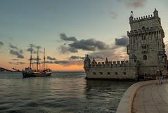Belem Tower (Nick~Osborn) Tags: tower torre belem portugal lisbon sunset river tagus ship boat sky