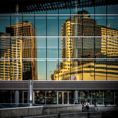 Sunset Reflection (Photo Alan) Tags: reflection city cityscape cityofvancouver vancouver canada building street streetphotography streetpeople leica leicam10 leica35mmf20 sunset