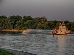 Golden Hour River Traffic (kendoman26) Tags: goldenhour tugboat illinoisriver fuji fujifinepix fujifinepixs1 bridgecamera hdr nikhdrefexpro2 niksoftware