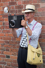 Photographer S.S.L.H.G. (f22photographie) Tags: candidphotography 1940sweekends blackcountrylivingmuseum vintageclothing people portrait braces ties contraptions shoulderbag cameras photographersinaction