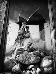 For Those In Peril (peterphotographic) Tags: gattevillelephare normandy france p5260781sefexedwm forthoseinperil olympus em5mk2 microfourthirds ©peterhall normandie mary saint glass broken nik silverefexpro2 blackandwhite blackwhitephotos bw monochrome