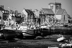 A look at the bay in Barfleur France during low tide.