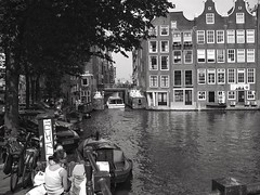 By the canal (LUMEN SCRIPT) Tags: tourism transport travel people urbanphotography urban city thenetherlands holland canal water amsterdam streetphoto monochrome