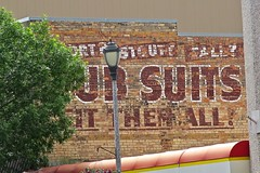 Suits Ghost Sign, Ashland, WI (Robby Virus) Tags: ashland wisconsin wi short stout tall suits fit them all ghost sign signage painted ad advertisement mens clothes clothing brick wall