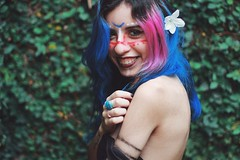 (Memórias Fotográficas) Tags: girl woman indie witch blue hair pink alternative model 50mm matte lightroom flower smile face painting photograph photography happiness vsco cam vscocam