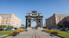 Triumphal Arch gate of Moscow (jack-sooksan) Tags: gate door triumphal arch victory park square moscow russia russian way walkway garden building ancient old architecture brick town downtown city urban street art cityscape statue monument history historical landmark napoleon war europe tourism travel famous blue sky memorial