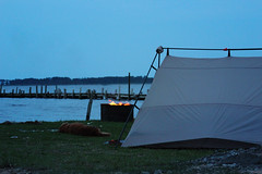 Camping on the Sound (Fire At Will [Photography]) Tags: camping currituck county north carolina nc 2018 spring fire will photography photo fw travel water sound dog tent flame bells island campground dusk evening golden retriever dock