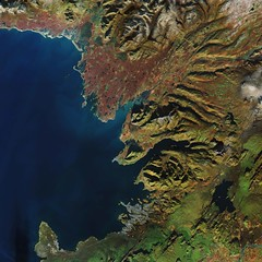 Reykjavik, Iceland (europeanspaceagency) Tags: esa europeanspaceagency space universe cosmos spacescience science spacetechnology tech technology earthfromspace observingtheearth earthobservation satelliteimage copernicus sentinel reykjavik iceland sentinel2a sentinel2 volcanoes glaciers lakes lava hotsprings akranes mountesja kettleholes