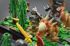 Breach (Knockback) (Klikstyle) Tags: lego medieval castle knight dinosaur stygimoloch vignette battle