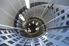 Silverstar (Elbmaedchen) Tags: stairs staircase stairwell treppenhaus treppenauge treppe escaliers escaleras aarhus dänemark denmark danmark architektur architecture interior lampe roundandround spirale spirals
