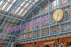 """""""I want my time with you"""" (Geoff Henson) Tags: art light sculpture sign station railway clock roof building architecture"""