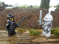 Black Knight VS White Knight (Lego Custom Zone) Tags: lego minifigs minifigure knight fight war battle fence moss toy toys