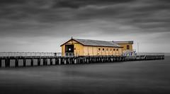 Queenscliff Pier (Goldmanoz) Tags: longexposure queenscliff pier queenscliffpier water ocean waves selectivecolour clouds sky morning bellarinepeninsula geelong