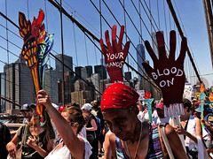 Families Belong Together Protest (Alexander H.M. Cascone [insta @cascones]) Tags: usa nyc new york city manhattan downtown financial district fidi protest rally march keepfamiliestogether standup social justice brooklyn bridge activism citizens crowd signs america rights freespeech blood your hands flame liberty lady africanamerican skyline red bandana south street seaport