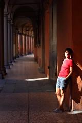 """Beauty in Bologna (""""Stròlic Furlàn"""" - Davide Gabino) Tags: woman beauty light bologna sun shadow colonnato portico portrait ritratto love amore"""