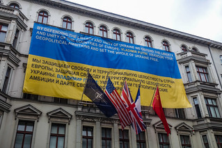 Berlin Wall Museum with Ukraine Banner
