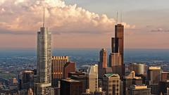 Chicago Sunset (oscarpetefan) Tags: oscarpetefan olympus omdem5ii chicago illinois skyarchitecture skyscraper willistower trumpinternationalhoteltower searstower sunset johnhancockcenter 875nmichiganave 360chicago urban skyline clouds zuiko microfourthirds 1240mmf28 travel