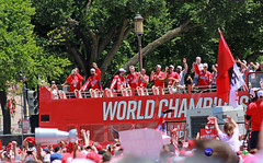 Capitals players, friends and family arrive from parade route on bus. ((4+ million views)) Tags: bus family friends players washington capitals 2018 world champions nhl hockey parade celebration rock red dc mall