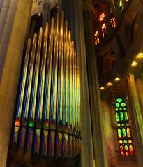 la Sagrada Familia Organ Reflection (seantindale) Tags: barcelona lasagradafamilia organ reflection colourful olympus omdem5markii spain espana travel europe