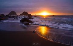 Sunset in the Cove (Björn Burton Photography) Tags: california falseklamathcove lagooncreekbeach redwoods ocean pacific sunset blacksand rocks hightide
