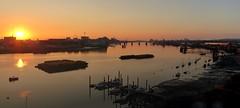 Sunrise over the Thames Barrier. Panasonic Lumiix DMC. Panorama. (Robert.Pittman) Tags: pamasonic lumixdmctz70 lumix panorama stitchedimage thamesbarrier riverthames river sunrise sun yachts o2 greenwichpeninsular northgreenwich london england gb uk se100fp