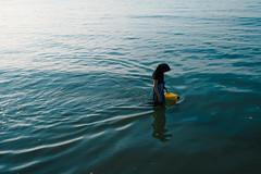Margate (jaumescar) Tags: margate england unitedkingdom banana sea blue beach english coast muslim woman color alone lonely mood water